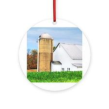 Autumn White Barn Ornament (Round)