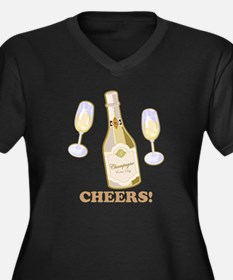 Cheers Champagne Women's Plus Size V-Neck Dark T-S