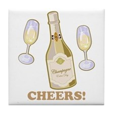 Cheers Champagne Tile Coaster