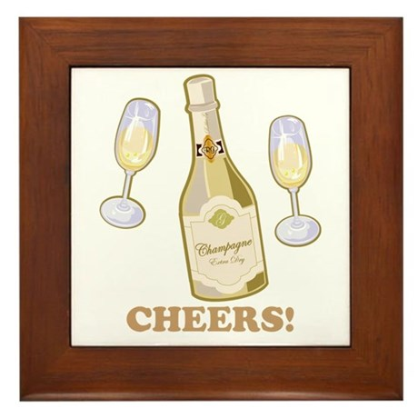 Cheers Champagne Framed Tile