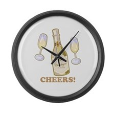 Cheers Champagne Large Wall Clock