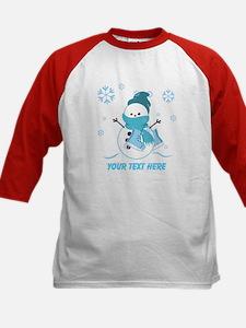 Cute Personalized Snowman Kids Baseball Jersey