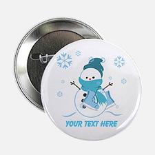 "Cute Personalized Snowman 2.25"" Button"