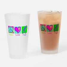 Peace Love Yoga Drinking Glass