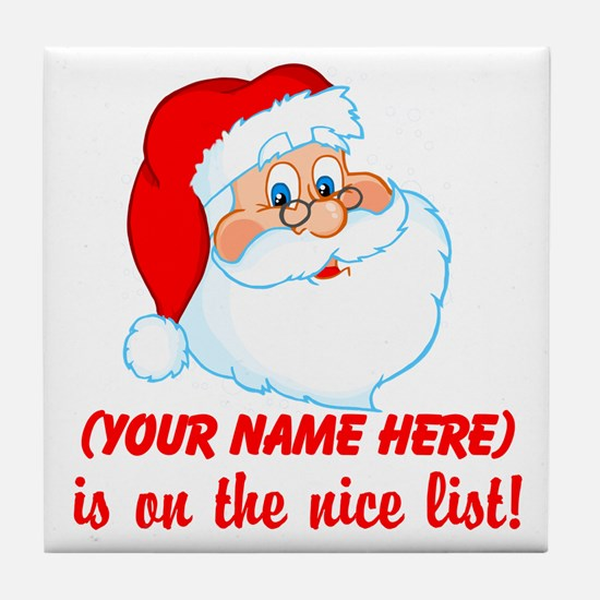 Personalized Nice List Tile Coaster