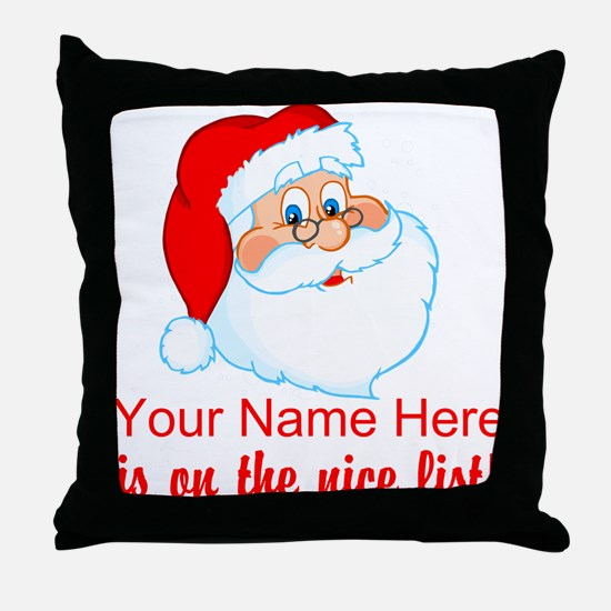 Personalized Nice List Throw Pillow