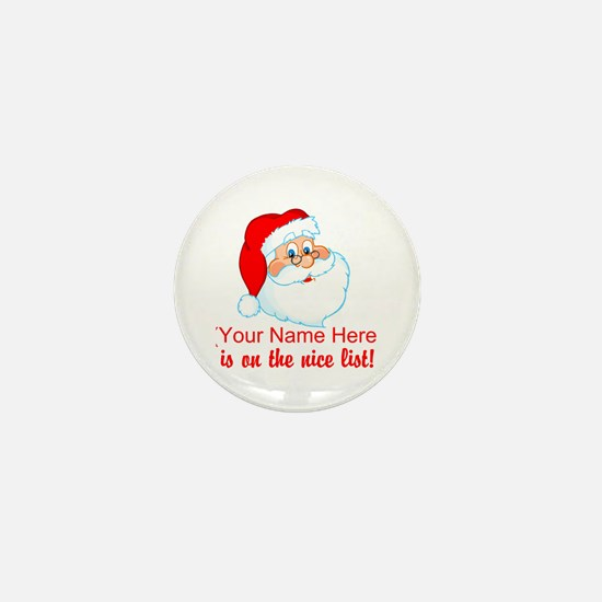 Personalized Nice List Mini Button