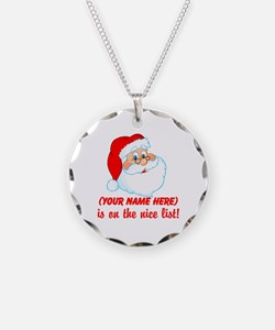 Personalized Nice List Necklace Circle Charm