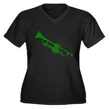 Green Trumpet Women's Plus Size V-Neck Dark T-Shir