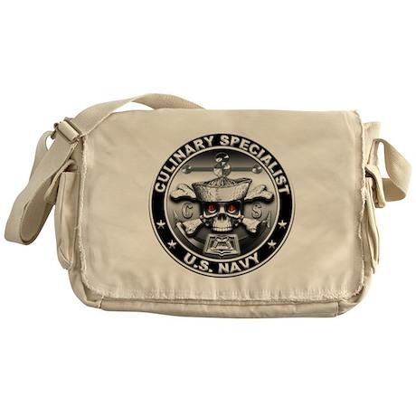 USN Culinary Specialist Skull Messenger Bag
