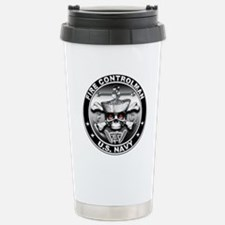 USN Fire Controlman Skull Travel Mug