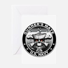 USN Gunners Mate Skull Greeting Card