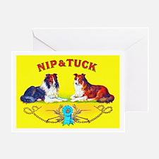 Nip & Tuck Dogs Cigar Label Greeting Card