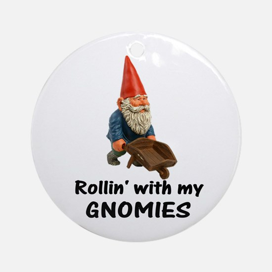 Rollin' With Gnomies Ornament (Round)