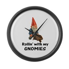 Rollin' With Gnomies Large Wall Clock