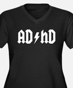 """AD/HD"" Women's Plus Size V-Neck Dark T-Shirt"