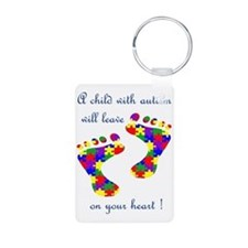 Footprints on your heart Aluminum Photo Keychain