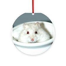 White-Albino Hamster Ornament (Round)