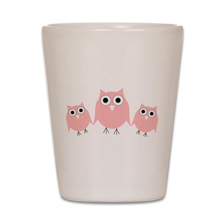 Pink Owls Shot Glass