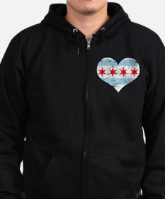 Chicago Flag Heart Zip Hoodie