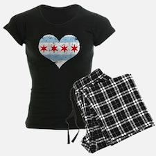 Chicago Flag Heart Pajamas
