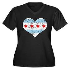 Chicago Flag Heart Women's Plus Size V-Neck Dark T