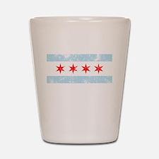 Chicago Flag Distressed Shot Glass