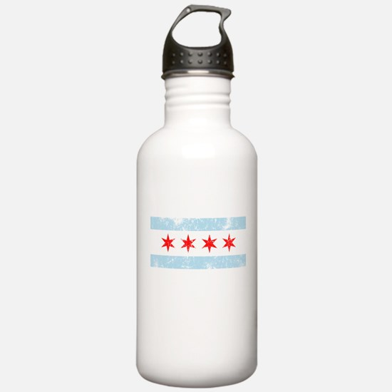 Chicago Flag Distressed Sports Water Bottle