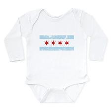 Chicago Flag Distressed Long Sleeve Infant Bodysui