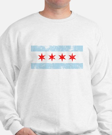 Chicago Flag Distressed Sweater