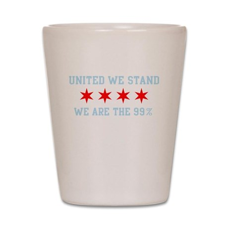United We Stand Chicago Flag Shot Glass