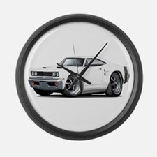 1969 Coronet White Car Large Wall Clock