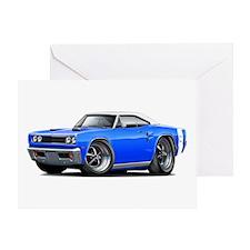 1969 Coronet Blue-White Car Greeting Card