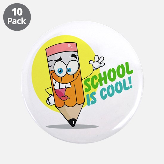 """School is Cool 3.5"""" Button (10 pack)"""