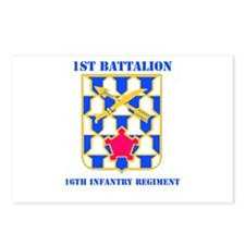 DUI - 1st Bn - 16th Infantry Regt with Text Postca