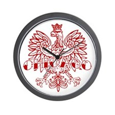 Chicago Polish White Ink Wall Clock