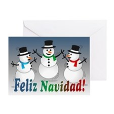 Merry Christmas Snowmen-spanish Card