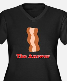 Bacon: The Answer Women's Plus Size V-Neck Dark T-