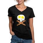 Breakfast Pirate Women's V-Neck Dark T-Shirt