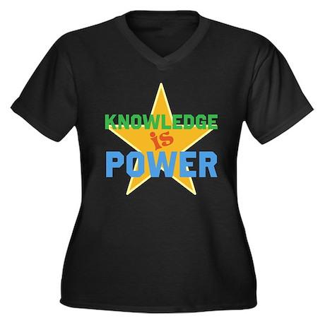 Knowledge is Power Women's Plus Size V-Neck Dark T