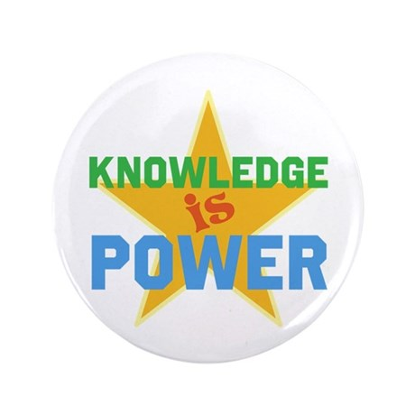 """Knowledge is Power 3.5"""" Button (100 pack)"""
