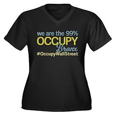 Occupy Bronx Women's Plus Size V-Neck Dark T-Shirt