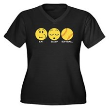 Eat Sleep Softball Women's Plus Size V-Neck Dark T