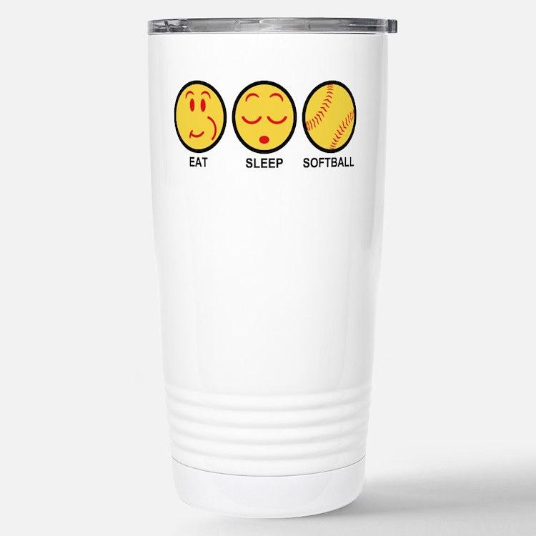 Eat Sleep Softball Stainless Steel Travel Mug