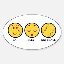 Eat Sleep Softball Sticker (Oval)