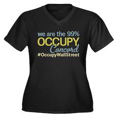 Occupy Concord Women's Plus Size V-Neck Dark T-Shi