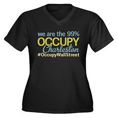 Occupy Charleston Women's Plus Size V-Neck Dark T-