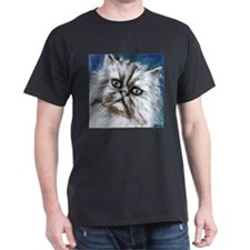white persian cute cat Black T-Shirt