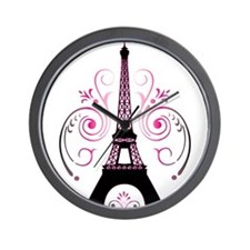 Eiffel Tower Gradient Swirl Wall Clock