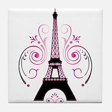 Eiffel Tower Gradient Swirl Tile Coaster